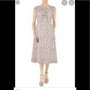 Eshakti ruffle bow floral midi dress